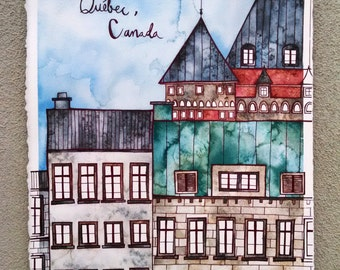 QUEBEC CANADA Original 11.25x15.25 Ink and Watercolor Painting