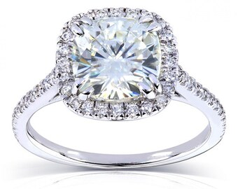 Forever One Cushion Moissanite and Diamond Engagement Ring 2 1/4 CTW in Platinum