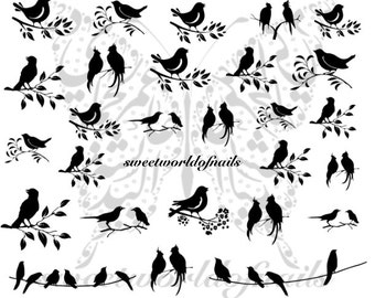 Birds Nail Art Nail Water Decals Transfers Wraps