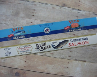 Vintage Canned Salmon Labels Columbia River Salmon Colorful Graphics -1920's