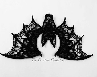 Halloween decoration, lace bat, machine embroidery, table décor, spooky creature, scary critter, delicate lace, wall accent