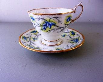Vintage Royal Albert Tea Cup & Saucer - Heather Bell - Handpainted - Mint