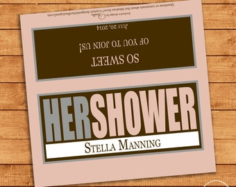 Customized Bridal Shower or Baby Shower Candy Bar Wrapper for Hershey Bars - You Print