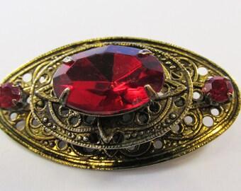Timeless Vintage 1940s Brass Filigree Ruby Red Rhinestone Pin