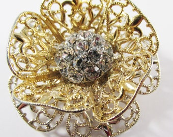 Vintage - Rhinestone Floral Pin - Collectible - Jewelry - Gold - Silver - Rhinestone - Floral - Pin - Brooch - Flawless - Unique - Mint