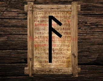 Ansuz print, rune illustration, Elder Futhark art, viking home decor, magical illustration, norse magick, magic, occult canvas poster #339.4