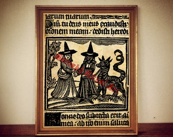 White and Black Magick print, two witches illustration, medieval poster, occult wall decor,  rustic home, demons, beast, witchcraft #328