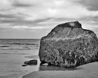 Cape Rock-Cape Cod, Ocean, Beach, Black and White