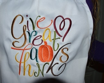 White Embroided Ladies Apron, Give Great Thanks