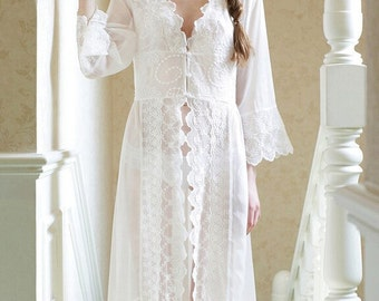 Pre-order Bridal Lace Nightgown Bridal Robes Wedding Lingerie Sleepwear