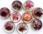Red rose cabochons Real dried flower cabochons for jewelry making craft home decor Small gifts favor table decor Flower terrarium Art deco