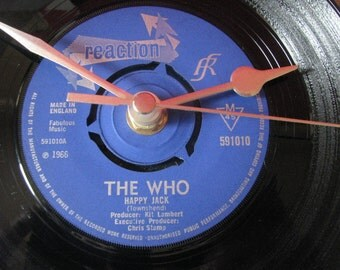 "The Who happy jack  7"" vinyl record clock"