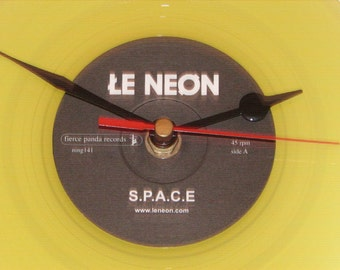"Le Neon s.p.a.c.e  7"" yellow vinyl record clock"