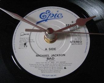 "Michael jackson bad 7"" vinyl clock"