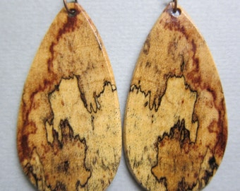 Unique Spalted Tamarind Exotic Wood Large Earrings Handcrafted ExoticWoodJewelryAnd