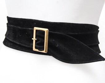 Black Suede Obi Buckle Belt | Black Belt | Corset Obi Belt | Suede Buckle Belt | Plus Size Belts