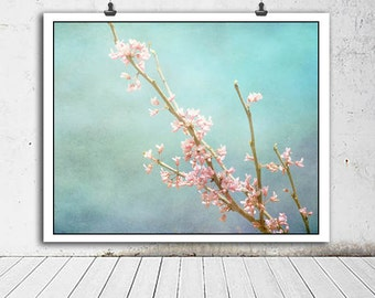Cherry Blossom photo, Flower photography, nature decor, nature photography, flower photo, spring decor, home decor, blue, pink, botanical