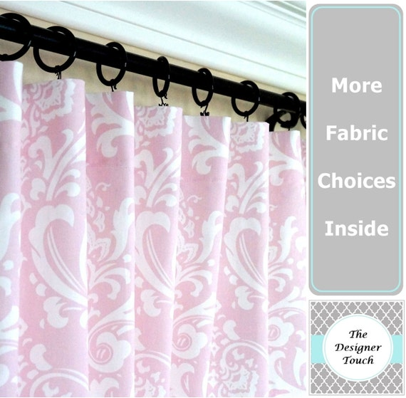 Pink window curtainslight pink drapespink gray curtaingray for Light pink and gray curtains