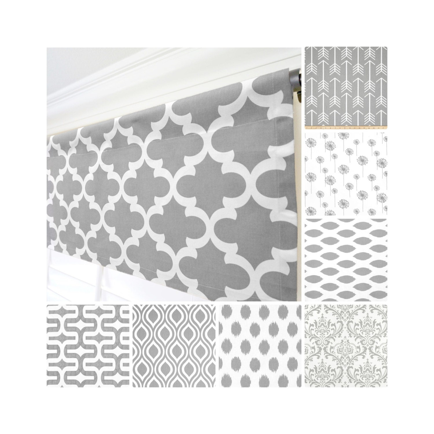 Red And Gray Kitchen Curtains: Grey Window Valance.Gray Curtain Valance.Gray White Modern