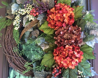 Autumn Wreath, Hydrangea Wreath, Front Door Wreath, Elegant Wreath, Fall Wreath