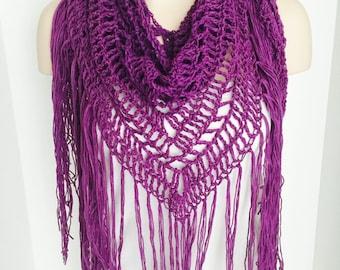Crochet Triangle Summer Wrap with Tassels | Purple | iWrap v1.0