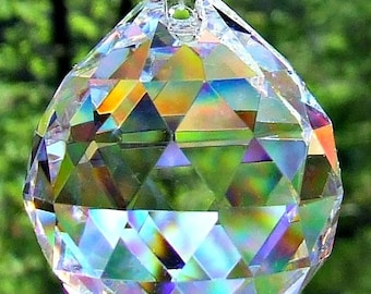 3 40mm Crystal Balls,  Asfour Faceted  Crystal Prism Balls, Crystal Ball, Sun Catcher, Feng Shui Crystal, Wind Chime Crystals, Wedding Decor