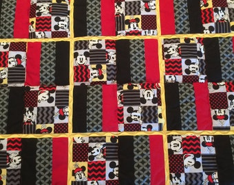 Disney's  Mickey Mouse and Minnie Mouse Geometric Design Quilt