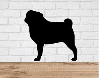 Pug Dog Wall Decal Stickers  - 1 to 19 inches high Bedroom Nursery Wall Large Wall Art