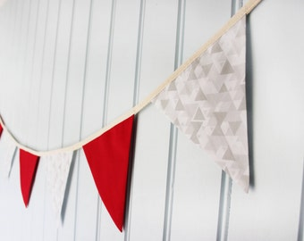 Christmas Decoration Red and Grey Festive Bunting / Banner / Garland / Pennant