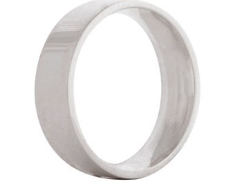 Wedding flat ring/band 6mm 9ct white gold
