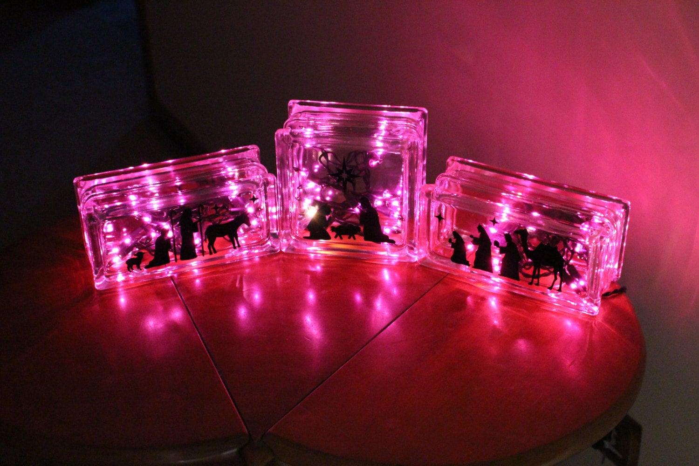 String Lights For Glass Blocks : Nativity Scene Set Glass Block Light Christmas Decoration