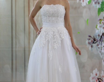 Lace beaded tea length white wedding dress
