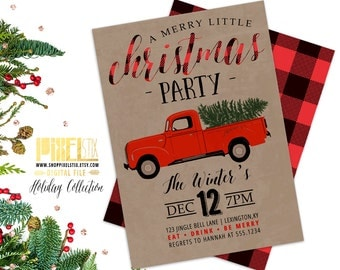 Christmas Party Invitation, Red Truck Invite, Retro Holiday Party, Griswold, Flannel Invitation, Buffalo Plaid, Vintage Christmas, Kraft