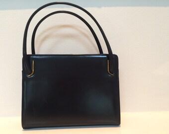 Dark Navy Blue Vintage Leather Handbag