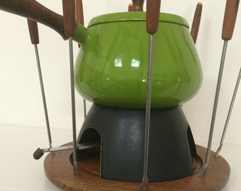 Bright Green Fondue Pot with Wooden Base Fork Stand and 8 Fondue Forks- Retro Kitchen