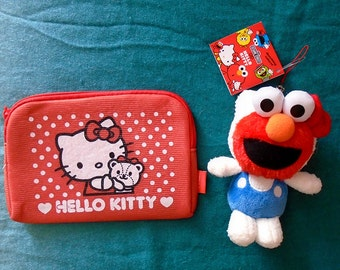 Hello Kitty with face of sesame street Elmo unique doll & Soft Pouch