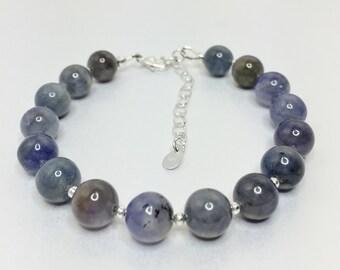 Tanzanite Bracelet with 925 Sterling Silver Accents Natural Violet Gemstone Genuine Tanzanite Adjustable Bracelet December Birthstone