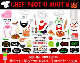 PRINTABLE Chef Photo Booth Props-Chef Photo Booth Sign-Cooking,Kitchen,Catering,Gastro,Pizza Party Photo Props-Chef Props-Instant Download