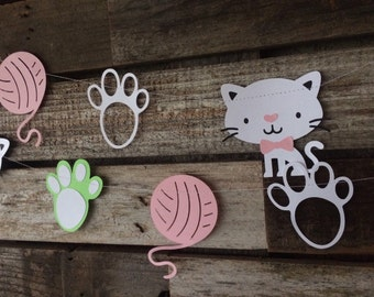 Kitten Cat Party Garland - Party Decorations, First Birthday Party, Baby Shower