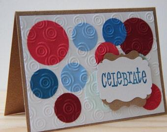 Patriotic Greeting Card. 4th of July Card. Patriotic Birthday Card. America Card. Celebrate. Veteran's Day Card. Handmade Greeting Card