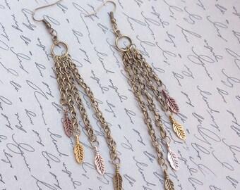 Feather Earrings, Boho Earrings, Chain Fringe Earrings, Chain Earrings, Tribal Earrings, Nature Jewelry, Dangle Earrings, Handmade Jewelry