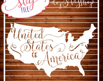 United States of America SVG   Fourth of July   Cut File   DXF file   Design   Silhouette   Cricut   Cameo   Explore   Vinyl   htv   Decal
