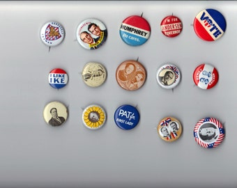 Vintage Lot of 15 Collectible Political Pins/Campaign Buttons-(LotA)