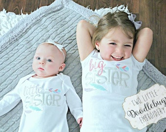 Sibling Set-Big Sister Little Sister-Matching Sibling Shirts-Big Sister Little Sister Matching Set-