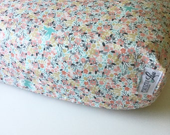 Floral Woodland | Standard Crib Sheet | Baby Girl Bedding | Mint and Coral