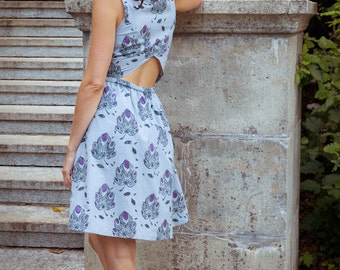 SALE -50%! Purple Fig Tree Leaf Tamarind - a cotton summer dress – original triangular opening at the back - fair-trade