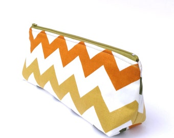 Chevron Makeup Bag, Stationery Case, Chevron Pencil Case, Large Planner Pouch, Chevron Flat Bottom Pouch, Large Makeup Pouch, Gift for her