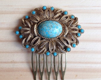 Art Deco Hair Comb: Turquoise and Cabochon Vintage Wedding Gatsby Costume Comb