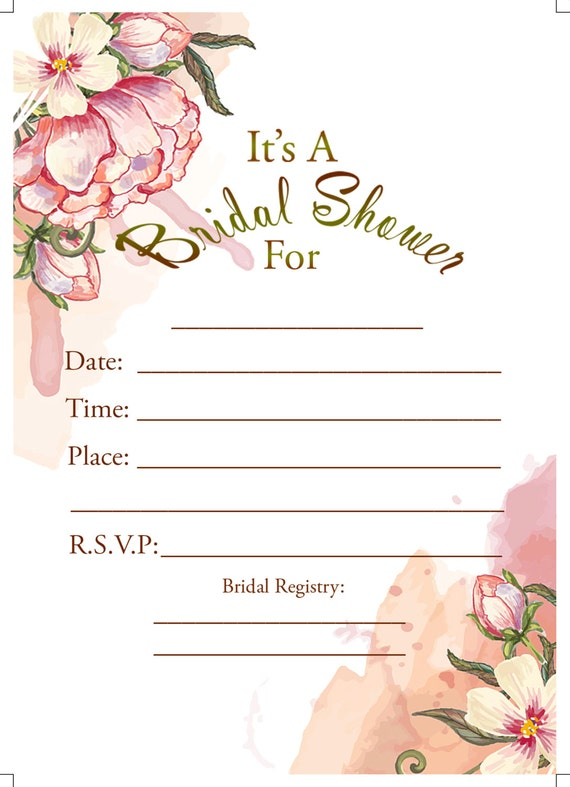 Printable fill in floral bridal shower invitation instant for Bridal shower fill in invitations