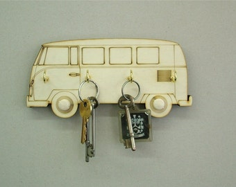 Wooden Key Holder Volkswagon Camper Van, 4 Key Hook Key Hanger, Wedding / Birthday Gift